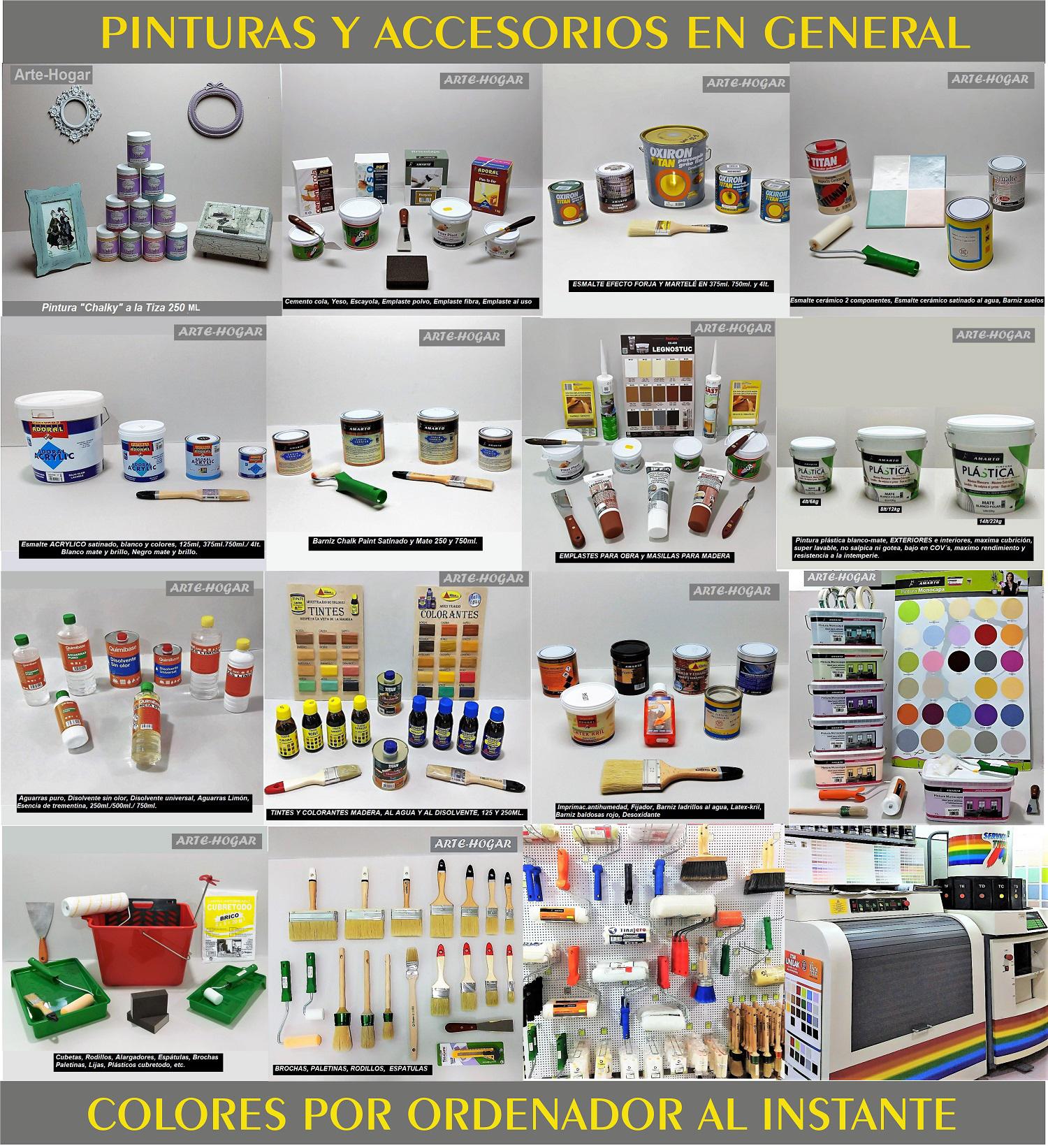 Pinturas y accesorios,rodillos, brochas, pinceles, cubetas, alargadores, cintas krepp, espátulas, plásticos protectores, lijas